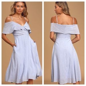 Lulu's Yacht Rock Blue & White Striped Midi Dress
